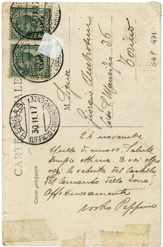 Cartolina viaggiata nel novembre 1917