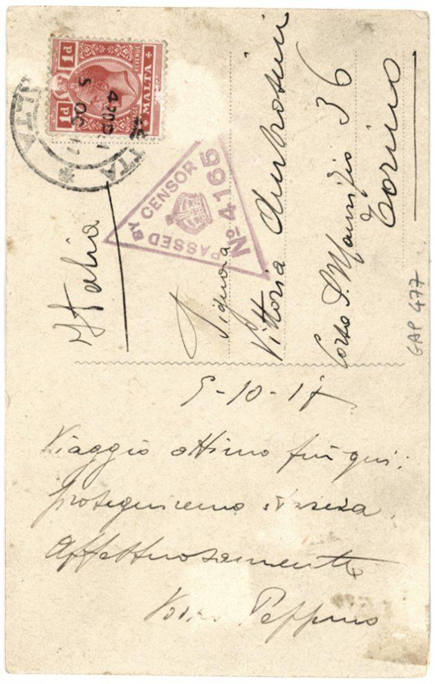 Cartolina viaggiata nell'ottobre 1917