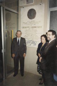 Intitolazione a Giuseppe Ambrosini del Liceo Ginnasio Sportivo di Forlì nel decennale della morte. 17 giugno 1990